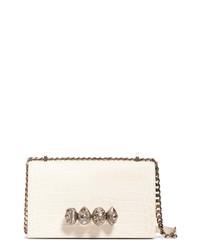 Alexander McQueen Crystal Knuckle Leather Satchel
