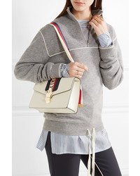 b065038d45876 Gucci Sylvie Small Chain Embellished Leather Shoulder Bag White ...