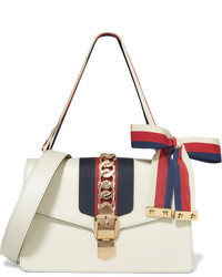 Gucci Sylvie Small Chain Embellished Leather Shoulder Bag White