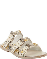Collection Privée? Collection Prive Embellished Triple Buckle Flat Sandals White