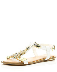 River Island White Jewel Detail T Bar Sandals