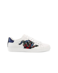 bc0d475bba1 Gucci Ace Crystal Embellished Watersnake Trimmed Leather Sneakers  1