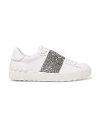 Valentino Garavani Crystal Embellished Leather Sneakers