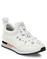 Tory Burch Laney Crystal Embellished Leather Sneakers