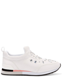 Tory Burch Laney Crystal Embellished Leather Sneakers Off White