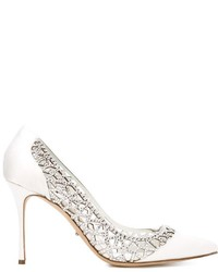 White Embellished Leather Pumps