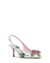 Dolce & Gabbana Crystal Embellished Rose Slingback Pump
