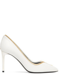 Tom Ford Embellished Leather Pumps Off White