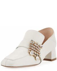 Stuart Weitzman Irises Embellished Block Heel Loafer