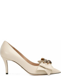 Gucci Leather Mid Heel Pump With Bow