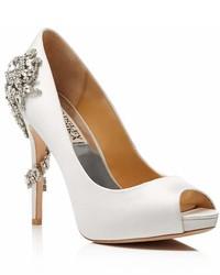 Badgley Mischka Royal Embellished Peep Toe High Heel Pumps