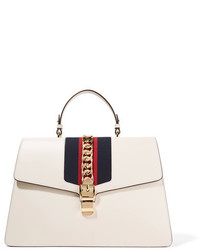 Gucci Sylvie Large Chain Embellished Leather Tote White