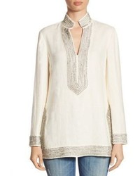 Tory Burch Crystal Embellished Linen Tunic