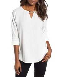 Wit & Wisdom Embellished Neck Top