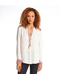 Embroidered placket blouse medium 160606