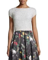 Alice + Olivia Short Sleeve Embellished Crop Top Off White