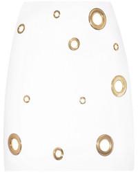 Versace Eyelet Embellished Silk Cady Mini Skirt