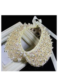 Pds online new jewelry necklace zircon sequin white pearl choker false collar medium 194192