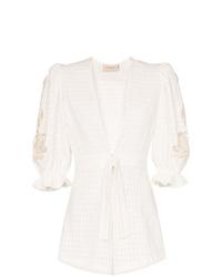 Adriana Degreas Porto Embellished Sleeve Cotton Playsuit