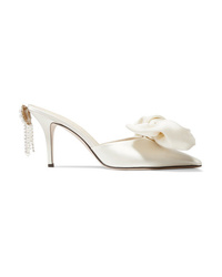 Magda Butrym Embellished Silk Satin And Leather Mules
