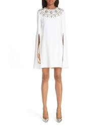 Michael Kors Crystal Embellished Split Sleeve Double Crepe Sable Dress