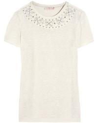 Tory Burch Savannah Embellished Linen Jersey T Shirt
