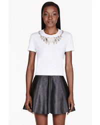 Alexander McQueen White Embroidered Crystal Yoke T Shirt