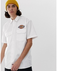 Dickies Clintondale Shirt With Badge Detail In White