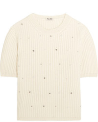 Miu Miu Pearl And Crystal Embellished Cashmere Sweater Ivory