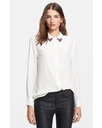 White Embellished Silk Button Down Blouse