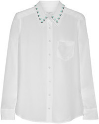 Brett embellished washed silk shirt medium 80242
