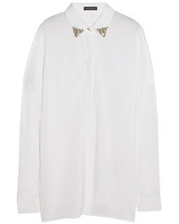Versace Crystal Embellished Washed Silk Blend Shirt