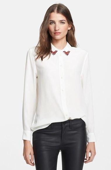 c0a092b0ef7102 Equipment Reese Embellished Collar Silk Shirt