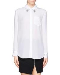 Nobrand Reese Jewel Collar Silk Shirt