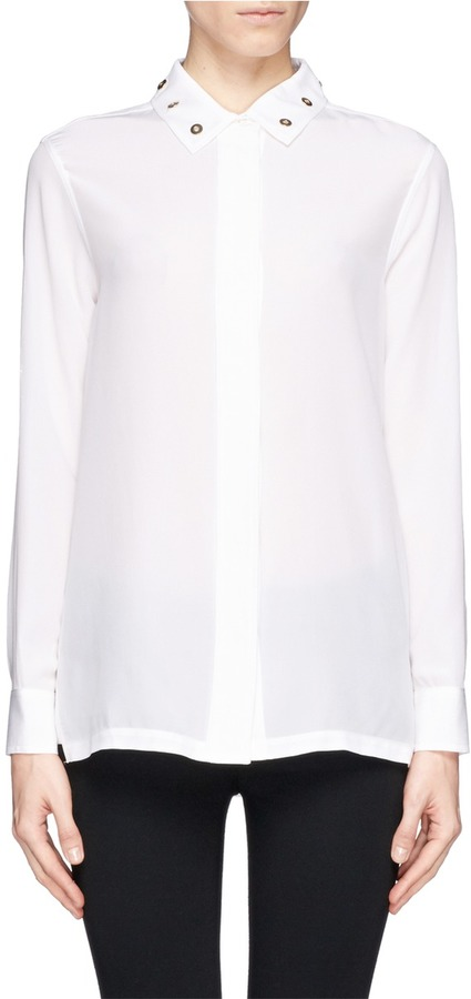 White embellished silk button down blouse sandro cindy for Silk button down shirt
