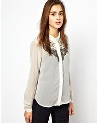 Vero Moda Embellished Long Sleeve Shirt