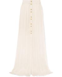 Balmain Button Embellished Pleated Crinkled Silk Satin Maxi Skirt
