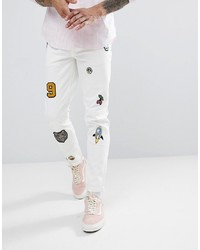 ASOS DESIGN Asos Skinny Jeans In White With Patches