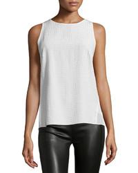 Heritage sleeveless embellished front top linen white medium 1193381