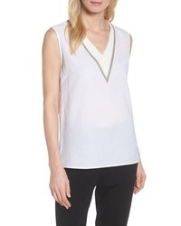 Ming Wang V Neck Accent Tank