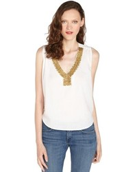 Love Sam White Cotton Embellished V Neck Tank