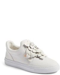 White Embellished Slip-on Sneakers
