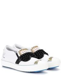 Fendi Embellished Slip On Leather Sneakers