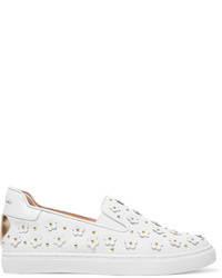 Isa Tapia Taylor Embellished Leather Slip On Sneakers