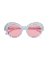 Alexandre Vauthier Alain Mikli Roselyn Round Frame Crystal Embellished Acetate Sunglasses