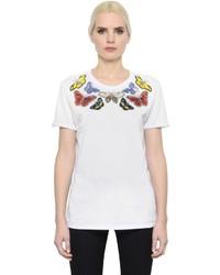 Alexander McQueen Butterflies Embellished Jersey T Shirt