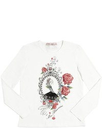 Miss Blumarine Embellished Cotton Jersey T Shirt
