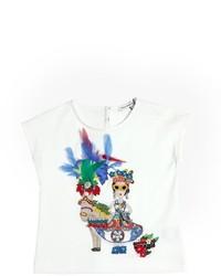 Dolce & Gabbana Embellished Cotton Jersey T Shirt