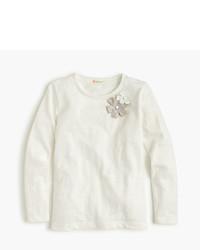 J.Crew Girls Embellished Double Flower T Shirt