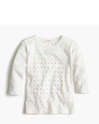 J.Crew Girls Embellished Three Quarter Sleeve T Shirt